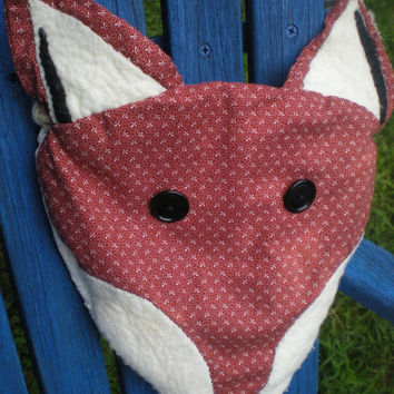 Fox face purse of soft cotton and felt with braided hemp twine strap