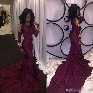 2017 Wine Red South African Mermaid Prom Evening Dresses Sexy High-neck Gold Appliques Ruffles Tiered Party Reception Dress Sweep Train
