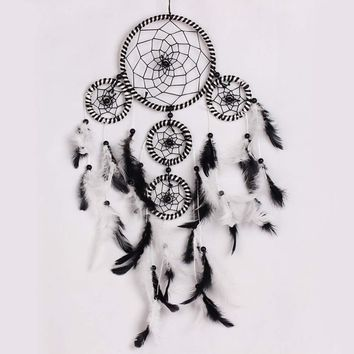 "Black & White Feathers Ornament Handmade Dream Catcher  Wall Decor - 23"" long"