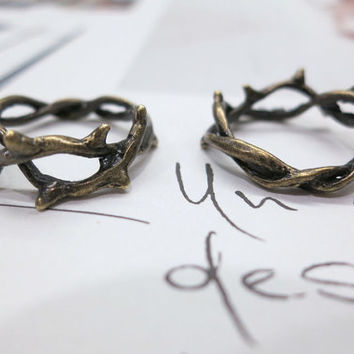 2 Rings Vintage Brass Branch Stack Ring. Couple Rings. Friendship rings