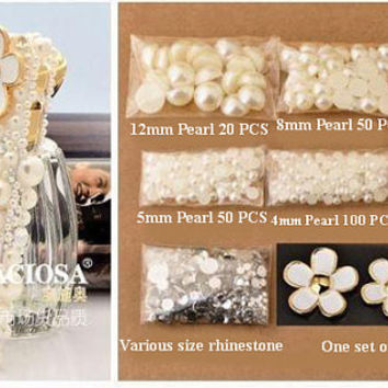 1 Set Deco Kit Bling Alloy Flower Gems Rhinestones Pearls Accessories Cabochon Deco Den on Craft Cell Phone Case DIY Deco kit