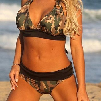 New Plus size Camouflage print bikini Camo Full Figure swimwear halter swimsuit triangle swimwear army green strappy fitkini
