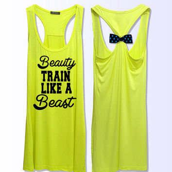 Beauty train like a beast work out fitness bow tank top 3 colors grey yellow pink PK_028