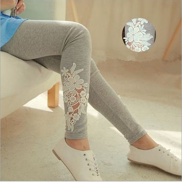 Elegant Women Ladies Lace Flower Decoration Casual Fitness Pant Leggings Slim Elastic Ankle Length Brand Leggings Trousers = 1958213380
