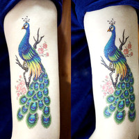temporary tattoo large  big colorful  flowers and peacocks green beautiful peacock feathers