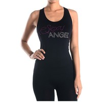 Seamless Sexy Angel Rhinestone Racerback Workout Fitness Tank Top