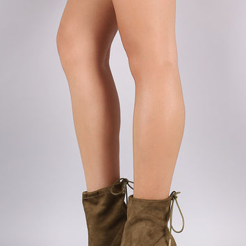 Liliana Suede Drawstring Chunky Heeled Booties