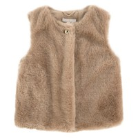 Girls Fancy Beige Fur Gilet