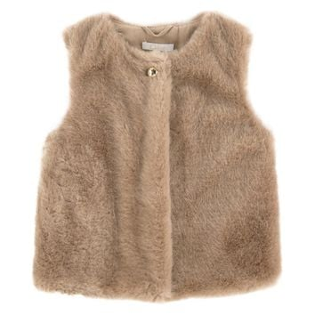 Chloe Girls Fancy Beige Fur Gilet