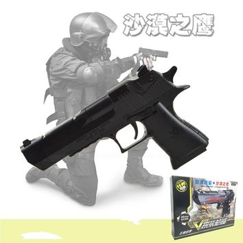 Military Police AK47/Desert Eagle DIY Building Assembly Plastic Gun Model Airsoft Pistol Toy can Shoot Gift for Children A615