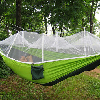 Multi-color Hammock Travel Camping Single Person Hammock Portable Parachute Fabric Mosquito Net Hammock for Indoor Outdoor Use