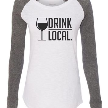 "Womens ""Drink Local."" Long Sleeve Elbow Patch Contrast Shirt"