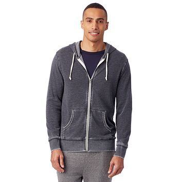 Alternative Apparel - Laid Back Burnout French Terry Zip Washed Black Hoodie