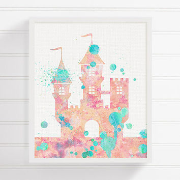 Pink and Turquoise Baby Nursery, Fairytale Nursery, Castle Art Print, Watercolor Castle, Baby Girl Nursery, Girls Room Decor,Castle Painting