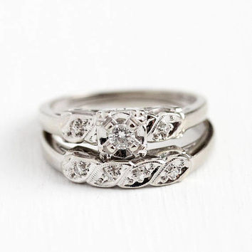 Wedding Ring Set - Vintage 1950s Mid Century 14k White Gold .16 CTW Diamond - Size 6 Engagement Band Classic Bridal Fine Matching Jewelry