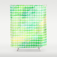 Houndstooth green watercolor Shower Curtain by CAPow!