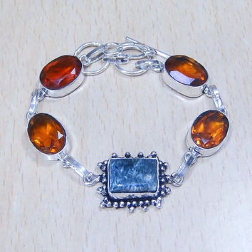 Beautiful and unusual Seraphinite + Citrine + 925 Silver Overlay Bracelet 205mm x 10mm Citrine The Lucky Money Stone