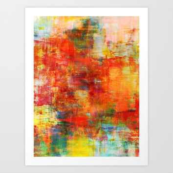AUTUMN HARVEST - Fall Colorful Abstract Textural Painting Warm Red Orange Yellow Green Thanksgiving Art Print by EbiEmporium