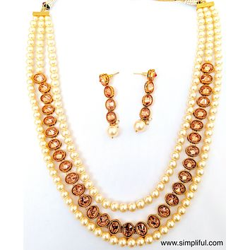 Triple stranded honey yellow stone and pearl Necklace and Earring set