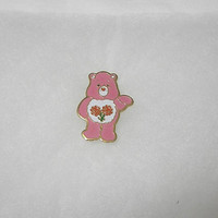 1983 Vintage Pink Care Bear Friend Bear Lapel Pin or Brooch, H. Eldon Ltd., American Greetings Corp., Enamel Metal Pin, Collectible or Wear
