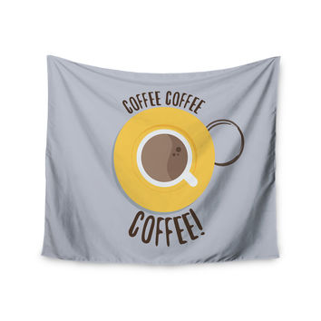 "Jackie Rose ""Coffee!"" Grey Yellow Wall Tapestry"