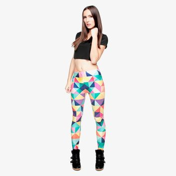 Triangles Color Stretchy Casual Aztec Leggings