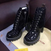 Fashion Online Lv Louis Vuitton Women Fashion Leather High Boot Heels Shoes
