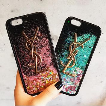 YSL Newest Fashion Women Shiny Stars Quicksand Mobile Phone Cover Case For iphone 6 6s 6plus 6s-plus 7 7plus iPhone 8 8 Plus iPhone X (2-Color) I13851-1