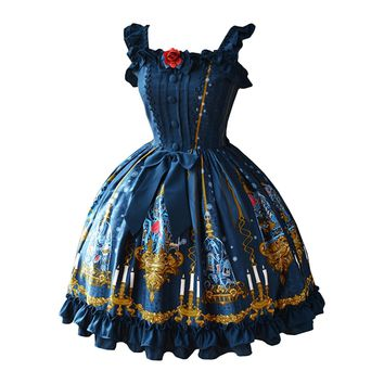 Partiss Womens Classic Beauty & Beast Printed Sweet Lolita Dress