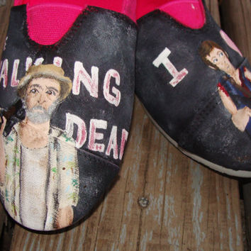 The Walking Dead Hand-painted TOMS convas shoes (Dale and Team Dixon)