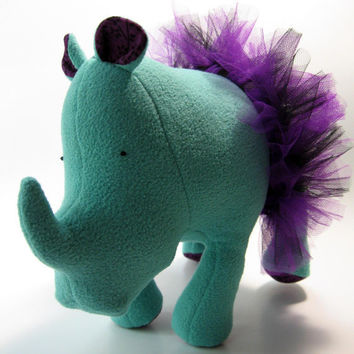 Stella the Rhinoceros, small, mini, stuffed animal, plush, fleece