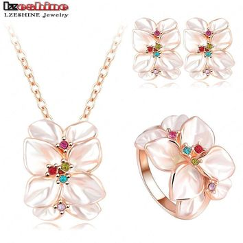 Best Seller Jewelry Set Rose Gold Color Austrian Crystal Enamel Earring/Necklace/Ring Flower Set Choose Size of Ring ST0002