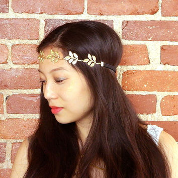 Roman Style Gold Leaf Headband Olive Head Crown Boho Chic Bridal Hair Accessory