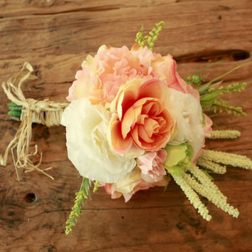 Silk Peony Rustic Coral Wedding Bouquet with Roses - Silk Bouquet