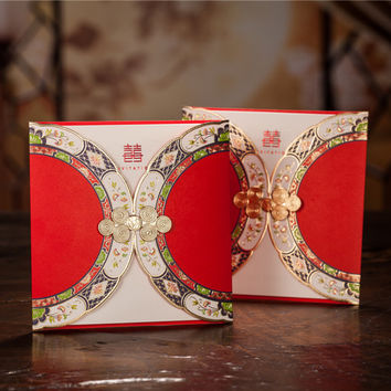 Free Shipping 10pcs Chinese Style Wedding Invitation Card Wishmade Convite Casamento Event & Party Supplies CW3082