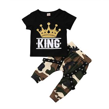 Fashion Newborn Toddler Kids Baby Boy Clothing Set Short Sleeve Crown Print  KING T-shirt ba8dc7b30