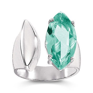 Sterling Silver Simulated Aquamarine Mountain Mist Ring