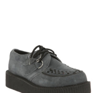 T.U.K. Grey Suede Low Sole Creepers
