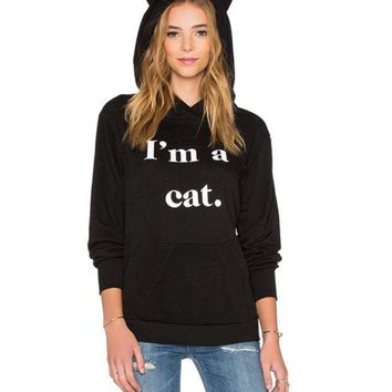 PEAPDQ7 Cute Unique I'm A Cat Printed Womens Loose Sweater Best Gifts
