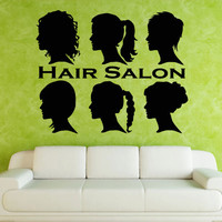 Wall decal decor decals art sticker haircut salon scissors dryer hair stylist head hairstyle (m751)