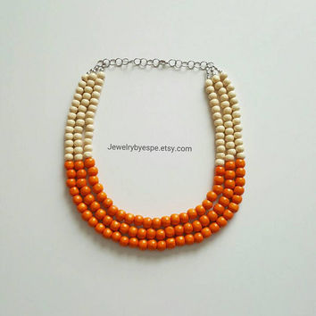 Orange Necklace Statement Necklace Layering Necklace Boho Necklace Chunky Bib Necklace Wedding Gifts Bridesmaid Gifts