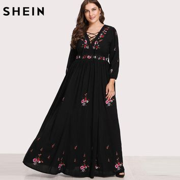 SHEIN Black Dresses Large Sizes Sexy Lace Up Front Flower Embroidered Maxi Dress Plus Size Spring Autumn Floral Dress