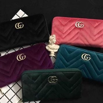 Gucci Fashion Quilted Double G Letter Long Section Zip Wallet Clutch Women Purse