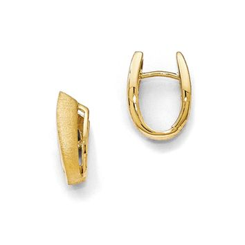 Small Abstract Textured Hoop Earrings, Yellow Gold Tone Plated Silver