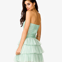 Tiered Tulle Strapless Dress