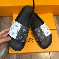 """Louis Vutitton"" Personality Fashion Letter Multicolor Sandals Summer Women Casual Slippers Flats Shoes"