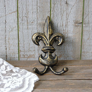 Shabby Chic Hook, Fleur de Lis, Cast Iron, Black, Gold, Hand Painted, Double Hook, Metal, Distressed, French Decor, Coat, Purse, Towel