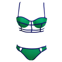 Green Strappy Push Up Cutout Balconette Corselet Bikini