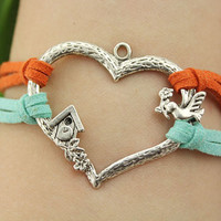 love bracelet--good morning house bracelet,antique silver charm bracelet,orange blue cord,MORE COLORS