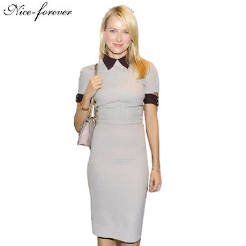 Nice-forever Victoria Vintage Zipper dress Contrast Short Sleeve Fit Business Bodycon Stretch Wiggle Pencil work Dresses 732